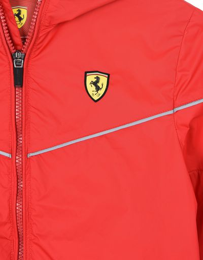 Scuderia Ferrari Online Store - Hooded jacket for teens with Scuderia Ferrari Icon Tape - Raincoats