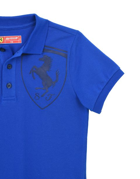 Scuderia Ferrari Online Store - Детская поло с короткими рукавами и эмблемой Scudetto Ferrari - Поло с короткими рукавами