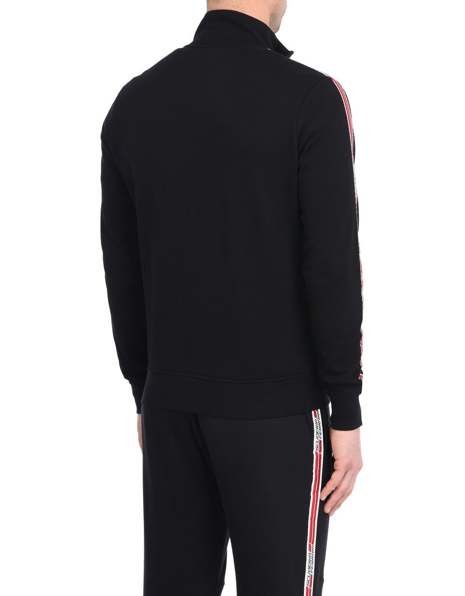 Scuderia Ferrari Online Store - Men's zip sweatshirt with Scuderia Ferrari Icon Tape - Zip Sweaters