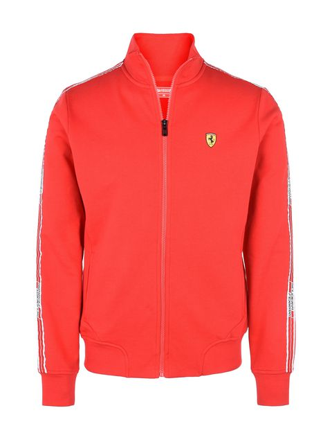Scuderia Ferrari Online Store - Men's zip sweatshirt with Scuderia Ferrari Icon Tape - Zip Jumpers