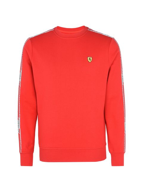 Scuderia Ferrari Online Store - Men's crew-neck sweatshirt with Icon Tape - Crew Neck Jumpers