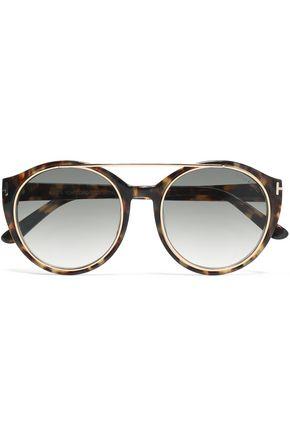 34c57b1180f4a TOM FORD Round-frame tortoiseshell acetate and gold-tone sunglasses ...