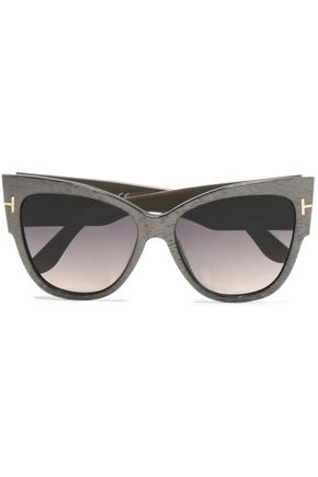 TOM FORD Cat-eye printed acetate and gold-tone sunglasses