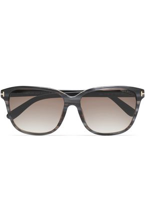 TOM FORD D-frame printed acetate and gold-tone sunglasses