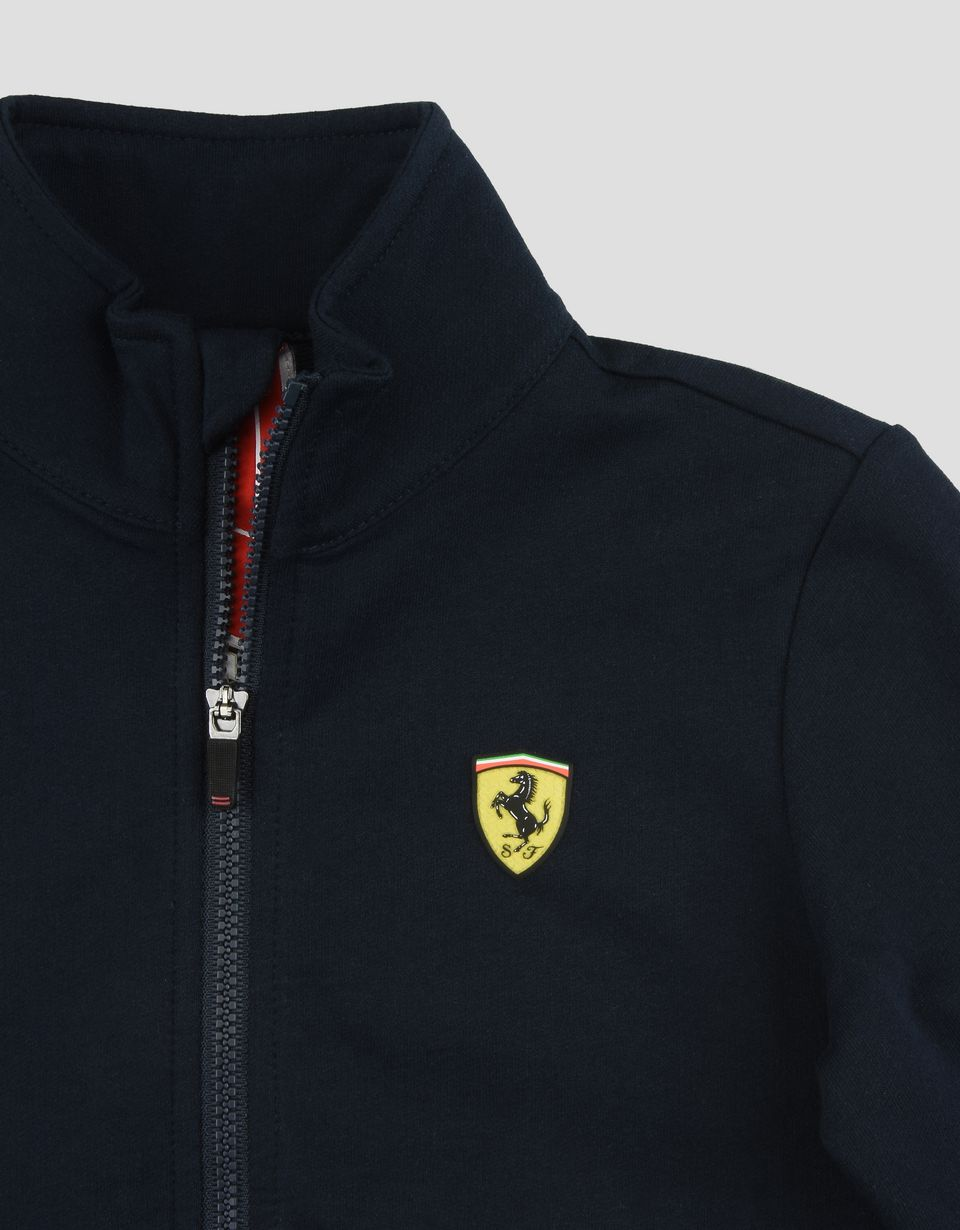 Scuderia Ferrari Online Store - Kids Scuderia Ferrari sweatshirt with Shield Icon Tape - Zip Jumpers