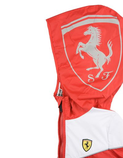 Scuderia Ferrari Online Store - Hooded jacket for teens with Scuderia Ferrari Icon Tape - Raincoats