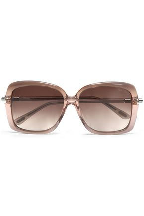 TOM FORD Square-frame acetate and silver-tone sunglasses