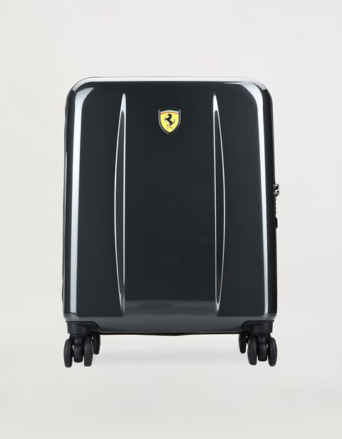 Carry-on size, hard-shell wheeled suitcase with Ferrari Shield
