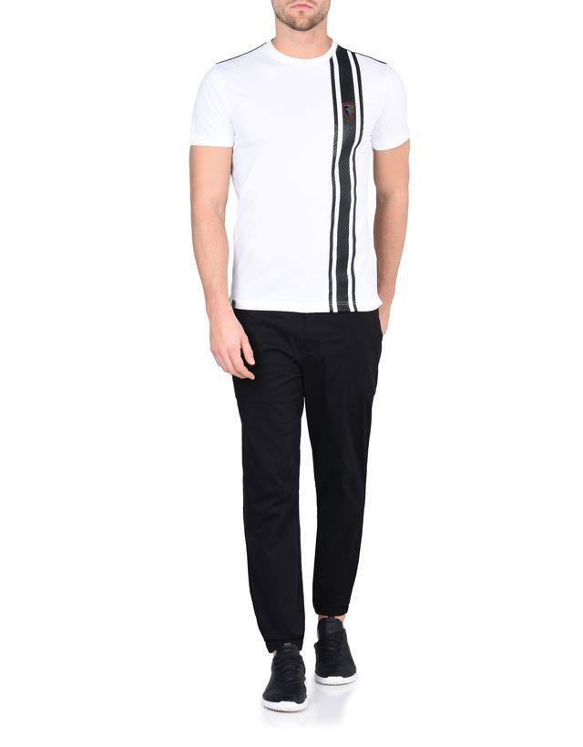 Scuderia Ferrari Online Store - Men's short-sleeve T-shirt with carbon fiber print - Short Sleeve T-Shirts