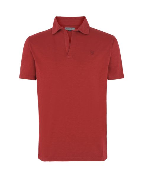 Scuderia Ferrari Online Store - Solid colour polo shirt with aged effect - Short Sleeve Polos