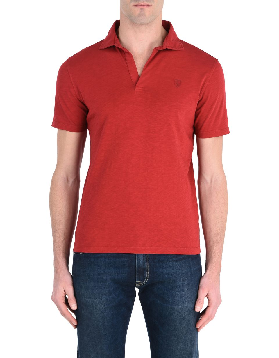 Scuderia Ferrari Online Store - Solid color polo shirt with an aged look -