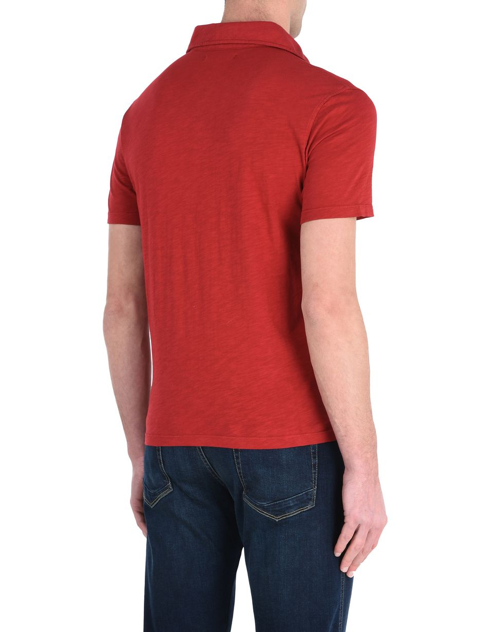 Scuderia Ferrari Online Store - Solid color polo shirt with an aged look - Short Sleeve Polos