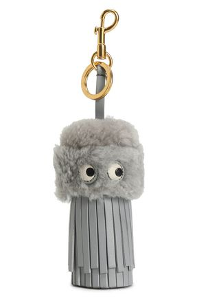 ANYA HINDMARCH Shearling and leather tassel keychain