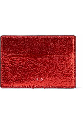 IRO Metallic cracked-leather cardholder