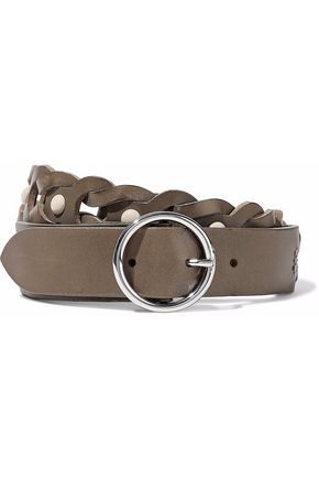 WOMAN STUDDED BRAIDED LEATHER BELT MUSHROOM