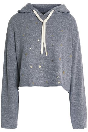 MONROW Cropped printed jersey hooded sweatshirt