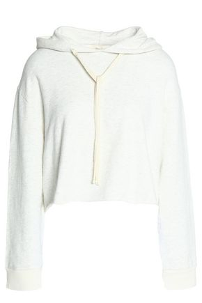 MONROW Cropped mélange cotton-blend jersey hooded sweatshirt