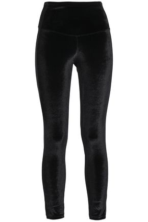 YUMMIE by HEATHER THOMSON Velvet-paneled stretch-jersey leggings