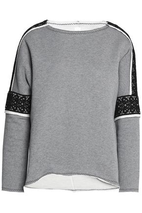 SÀPOPA Macramé lace-trimmed cotton-terry sweatshirt