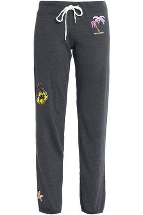 MONROW Appliquéd stretch-jersey track pants