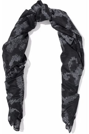 RAG & BONE Printed cotton and silk-blend voile scarf