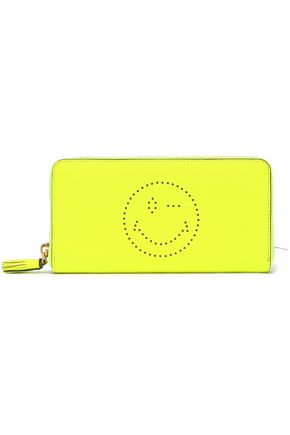 ANYA HINDMARCH Perforated neon pebbled-leather wallet