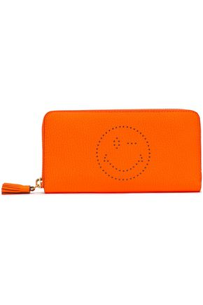 ANYA HINDMARCH Perforated pebbled-leather wallet