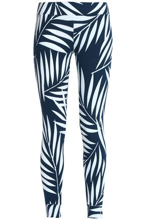 MONROW Printed cotton-blend jersey leggings