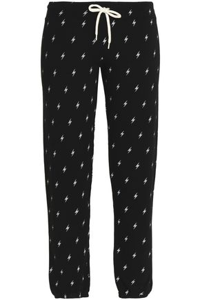 MONROW Printed mélange jersey track pants
