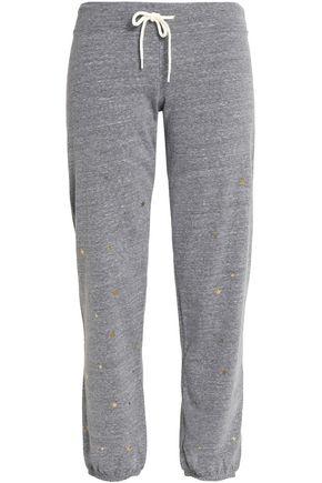 MONROW Metallic printed mélange jersey track pants
