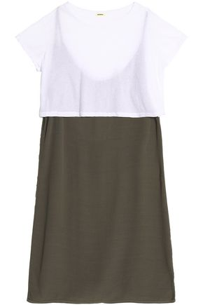 MONROW Layered cotton-jersey and crepe mini dress