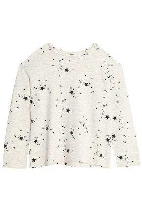 MONROW Printed mélange jersey top