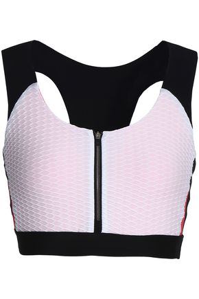 SÀPOPA Cloqué-paneled stretch sports bra