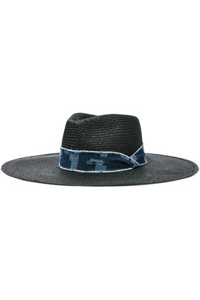 RAG & BONE Frayed denim-trimmed straw sunhat