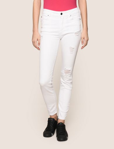DESTROYED WHITE SUPER-SKINNY JEANS