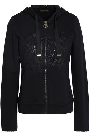 ROBERTO CAVALLI GYM Embroidered sequin-embellished cotton-terry hooded sweatshirt