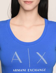 ARMANI EXCHANGE T-SHIRT CON LOGO E PERLINE T-shirt con logo Donna b