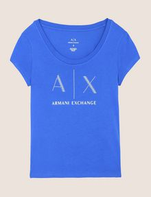 ARMANI EXCHANGE T-SHIRT CON LOGO E PERLINE T-shirt con logo Donna r