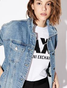 ARMANI EXCHANGE SLASHED STUD LOGO TEE Logo T-shirt Woman a