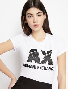 ARMANI EXCHANGE SLASHED STUD LOGO TEE Logo T-shirt Woman b