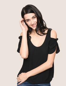 ARMANI EXCHANGE SPLIT SLEEVE COLD-SHOULDER BLOUSE S/S Woven Top Woman a