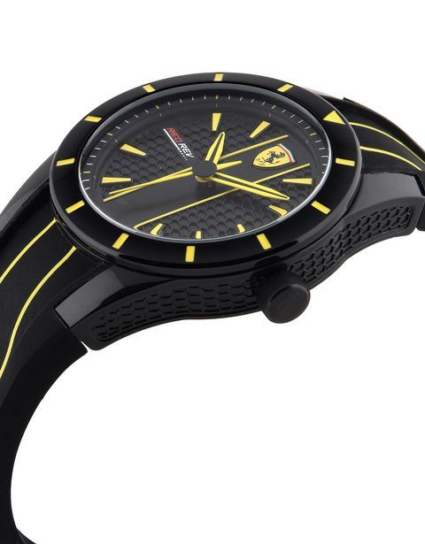 RedRev watch in black with yellow details