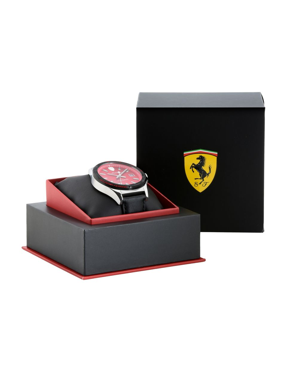 Scuderia Ferrari Online Store - Pilota watch with red dial and leather strap - Quartz Watches
