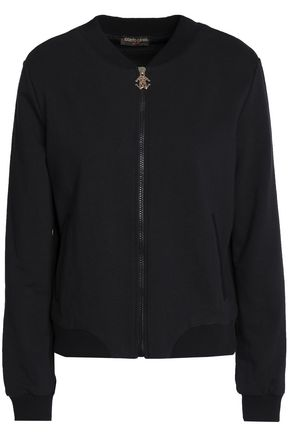 ROBERTO CAVALLI GYM Embroidered cotton-terry bomber jacket