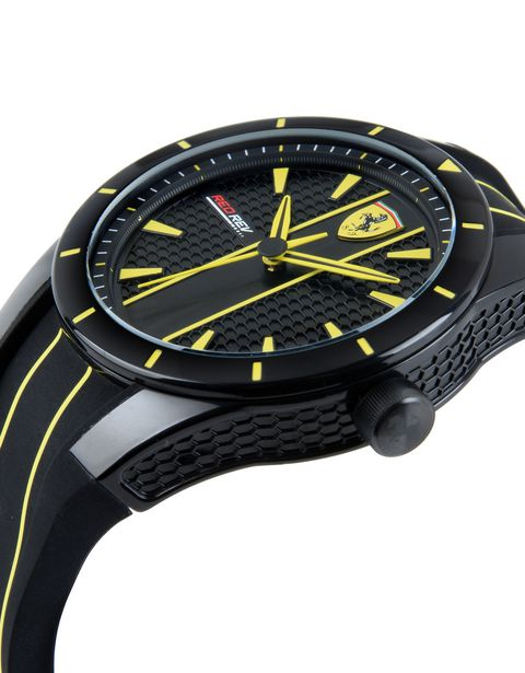 RedRev quartz watch in black with yellow details