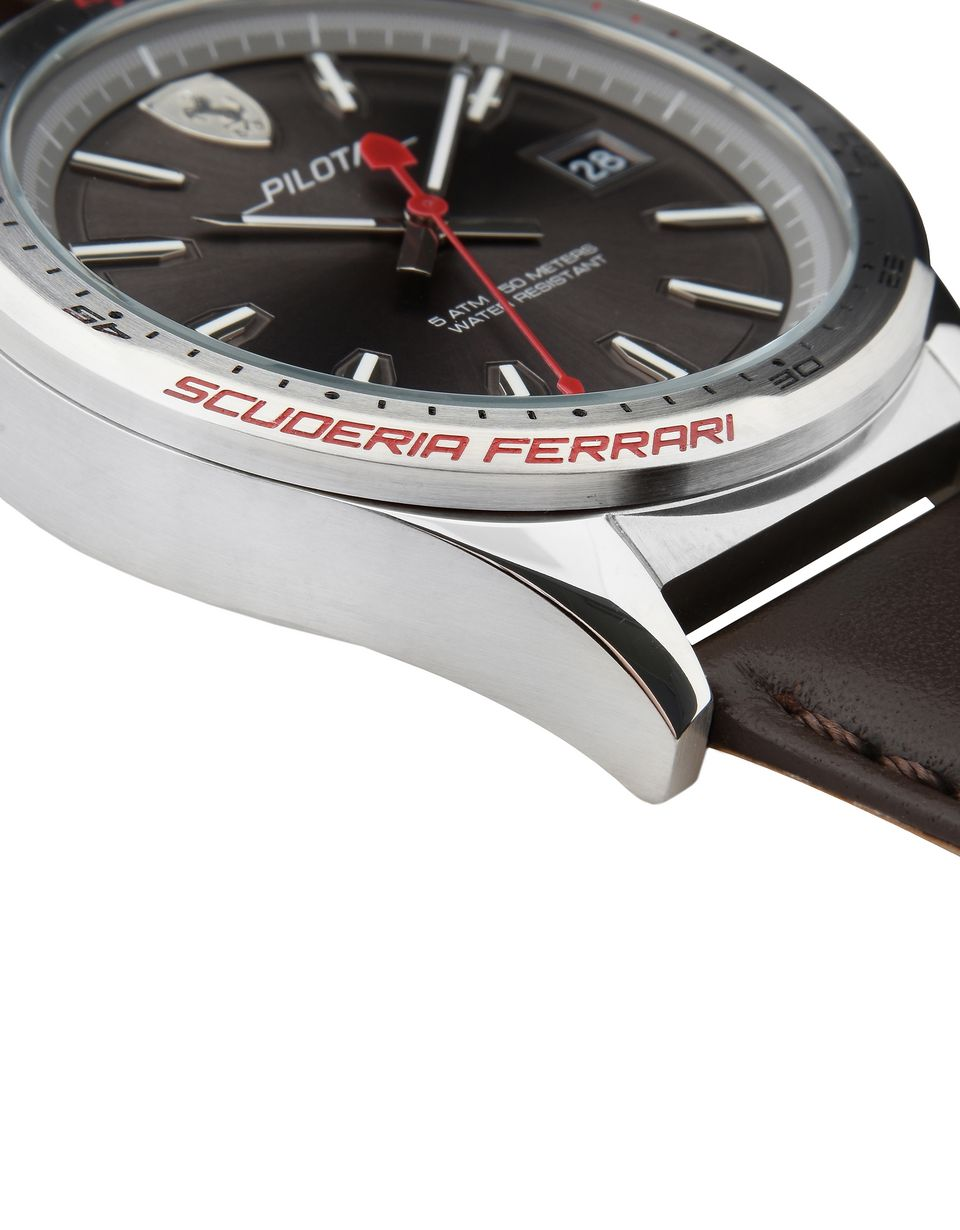 Scuderia Ferrari Online Store - Pilota steel watch with grey dial and leather strap -