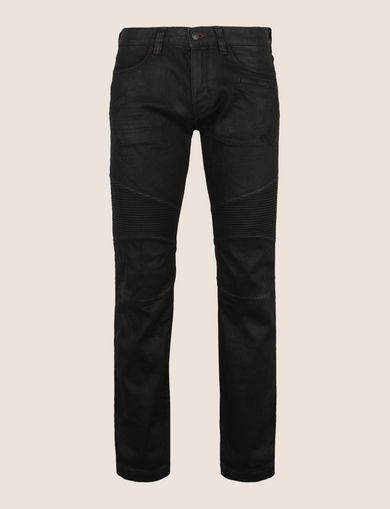 SLIM-FIT COATED MOTO JEANS