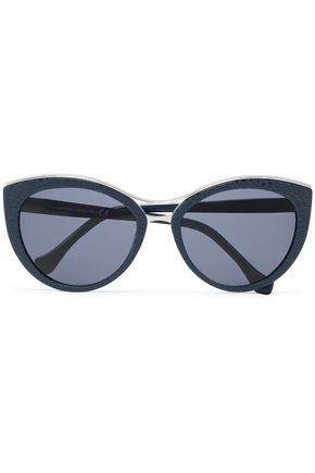 BALENCIAGA Cat-eye printed acetate and gold-tone sunglasses
