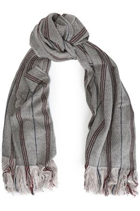 ISABEL MARANT Fringed striped wool and cashmere-blend scarf