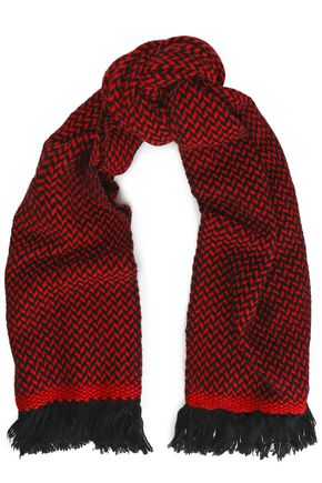 ISABEL MARANT ÉTOILE Fringed herringbone wool and cashmere-blend scarf